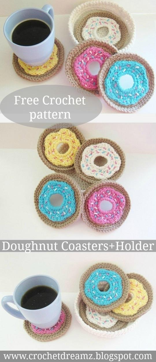 Crochet Doughnut Coasters and Holder Set from Crochet Dreamz