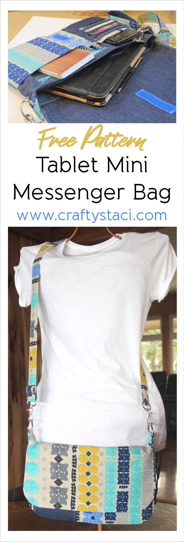Tablet Mini Messenger Bag with Adjustable Strap - Free Pattern from craftystaci.com #freesewingpattern #bagsewingpattern