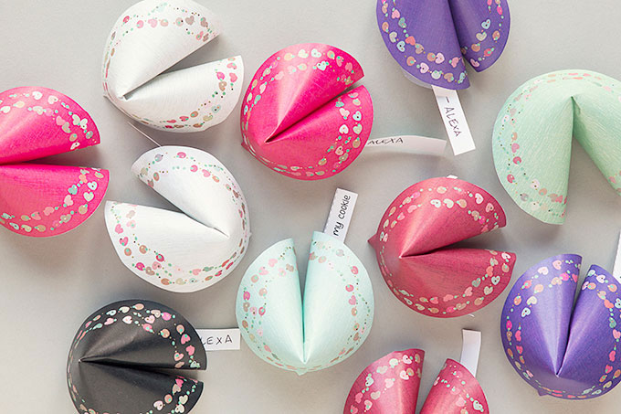 Printable Valentine Paper Fortune Cookies from Evermine Occasions