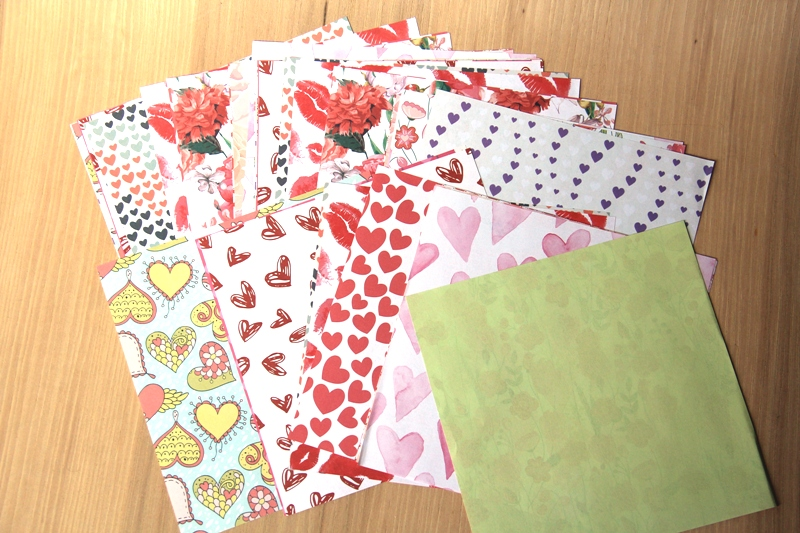 Papers included in Origami Love Notes Kit