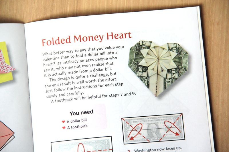 Folded Money Heart from Origami Love Notes Kit