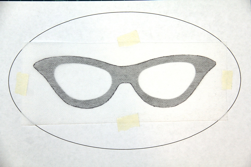 Trace glasses onto interfacing