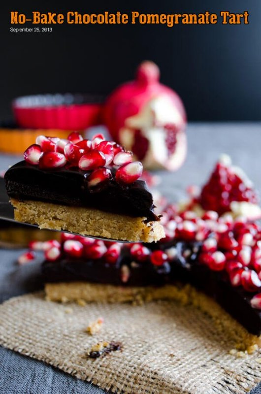 No Bake Chocolate Pomegranate Tart from Give Recipe