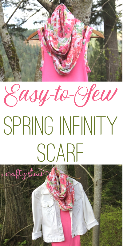 Easy-to-Sew Spring Infinity Scarf on craftystaci.com #sewingforbeginners #easysewing #diyscarf