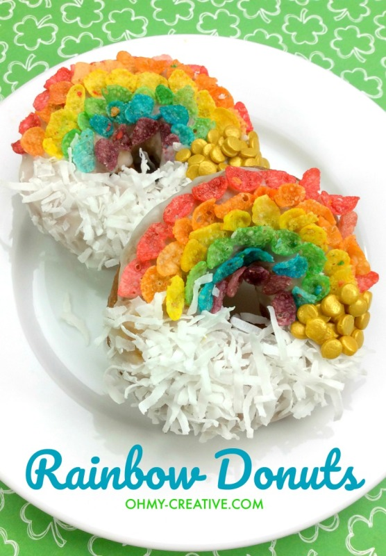 St. Patrick's Day Rainbow Doughnuts from Oh My Creative