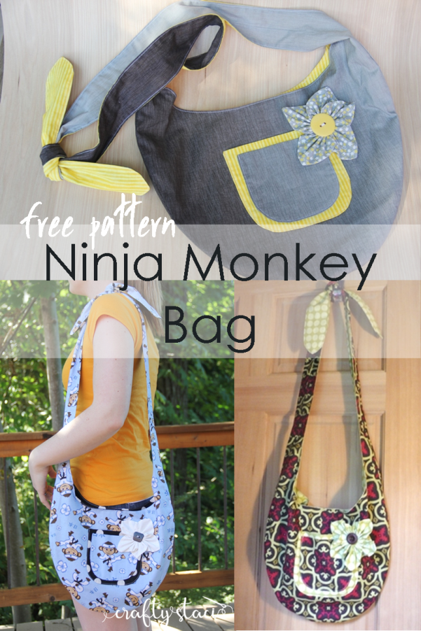 Ninja Monkey Bag Free Pattern on craftystaci.com #freesewingpattern #freebagpattern