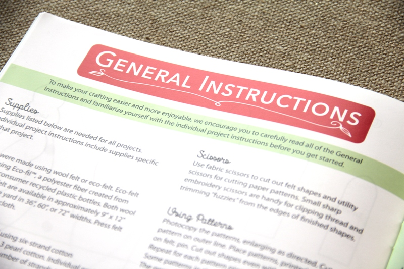 General Instructions from Felt for the Home book