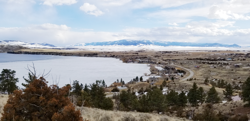 view of Helena and Hauser Lake from hill