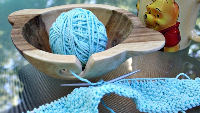 Wooden Yarn Bowl from Super Mom No Cape