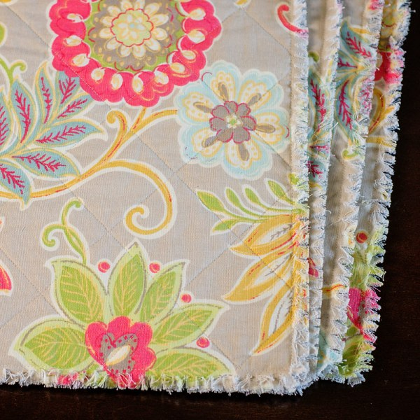Rag Quilt Placemats from Scattered Thoughts of a Crafty Mom