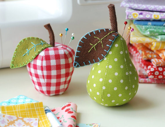 Scrappy Apple and Pear Pincushions from retromama on Etsy