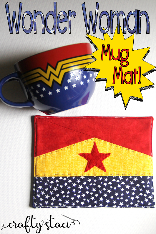 Wonder Woman Mug Mat Pattern on craftystaci.com #freesewingpattern #mugmat #mugrug #wonderwoman