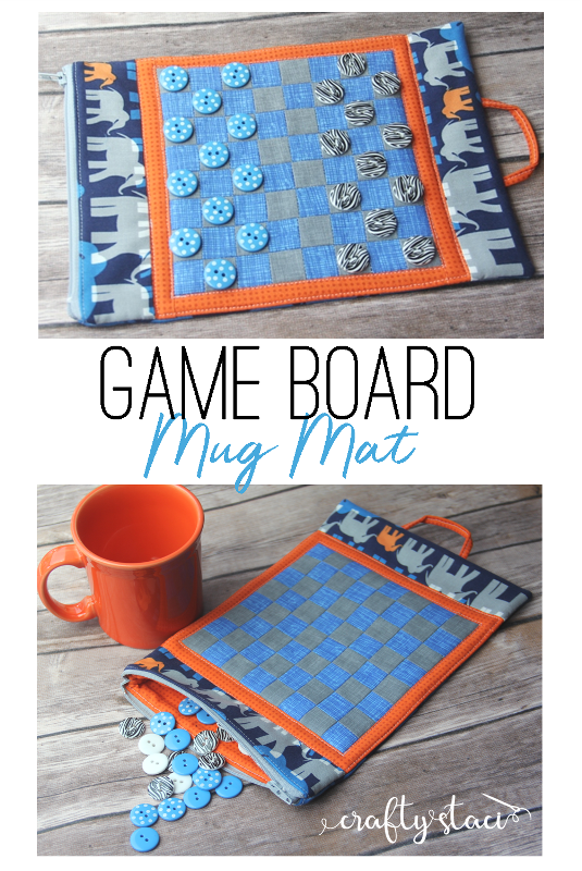 Game Board Mug Mat Free Pattern on craftystaci.com #freesewingpattern #mugmat #mugrug