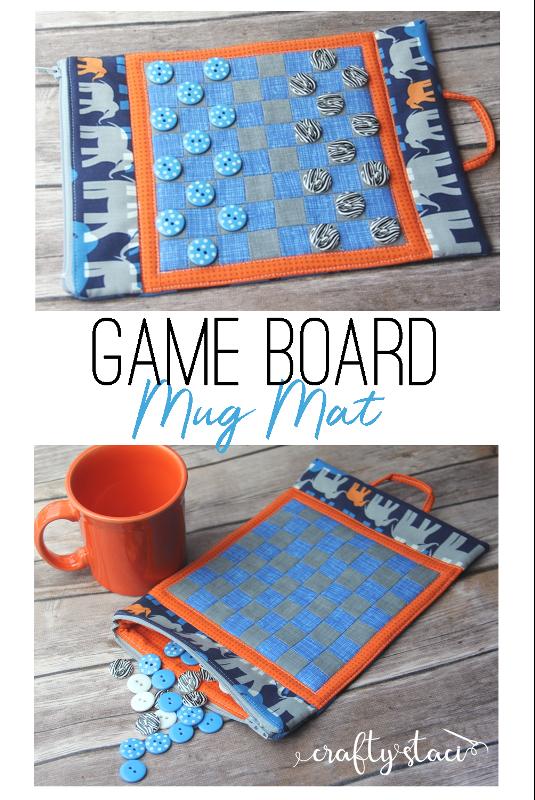 Game Board Mug Mat Free Pattern on craftystaci.com #freesewingpattern #mugmat #mugrug
