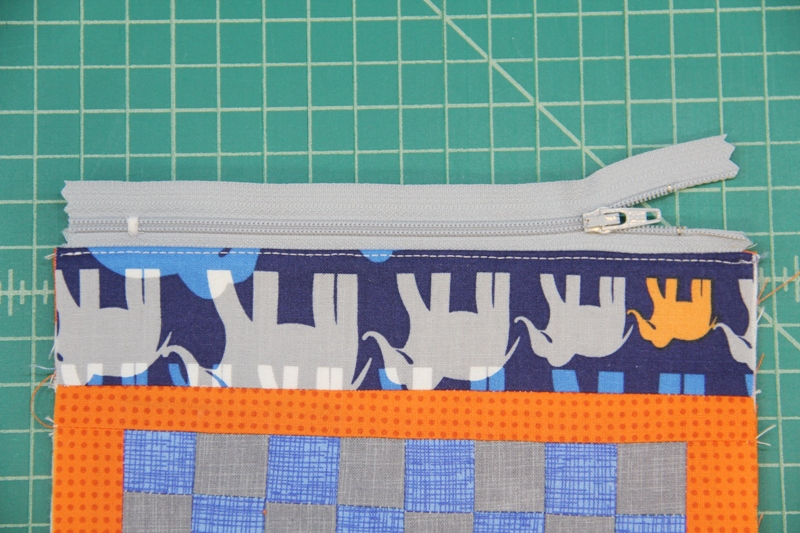 Topstitch near zipper