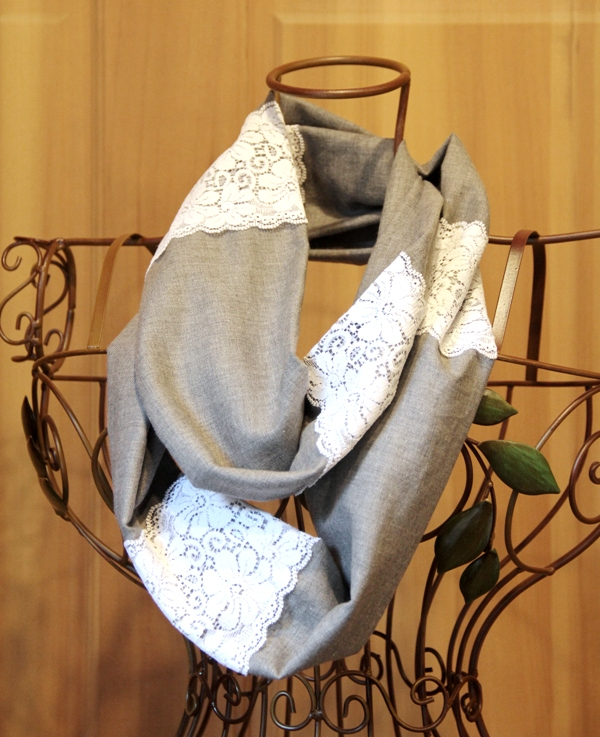 Linen and Lace Infinity Scarf - Crafty Staci 1