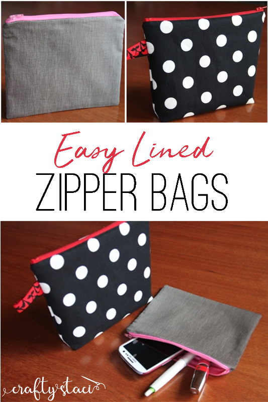 Easy Lined Zipper Bags from craftystaci.com