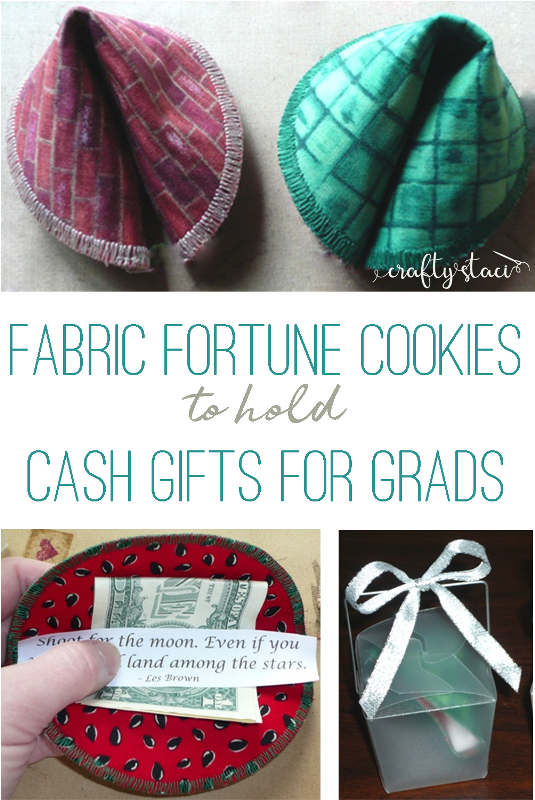 Fabric Fortune Cookies to hold cash gifts for grads on craftystaci.com
