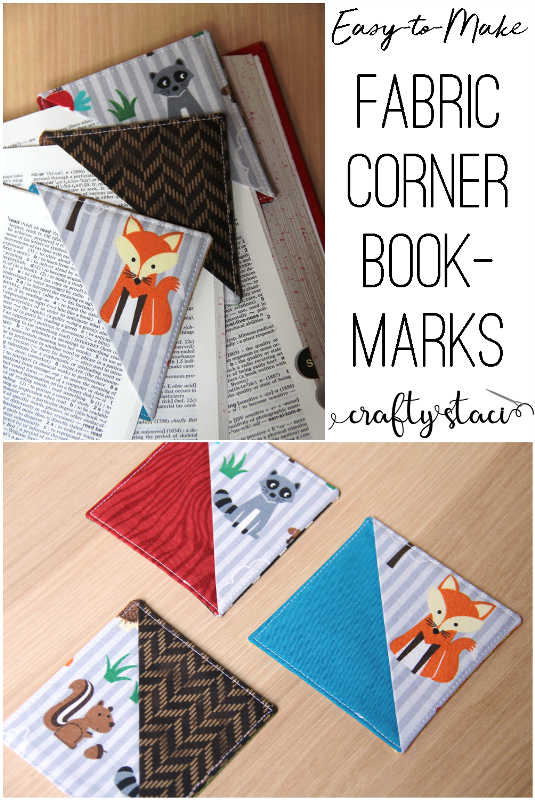 Easy to Make Fabric Corner Bookmarks from craftystaci.com