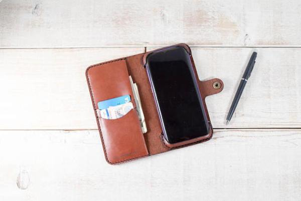 Leather Phone Wallet from HANDandHIDE on Etsy