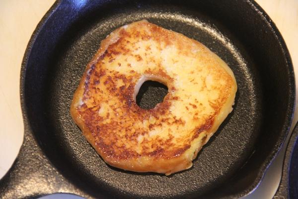 Doughnut in skillet