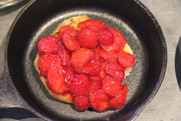 Strawberries over doughnut