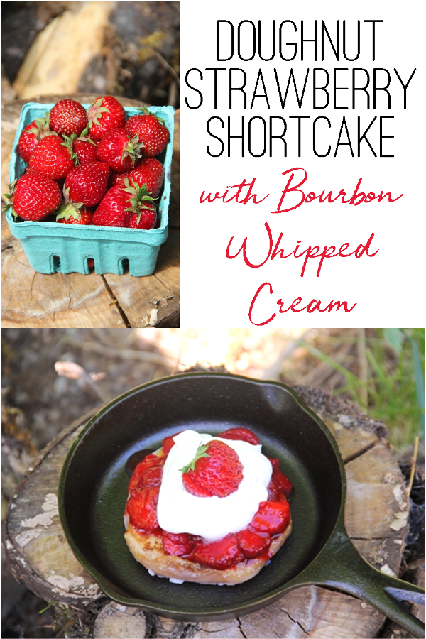 Doughnut Strawberry Shortcake with Bourbon Whipped Cream from craftystaci.com #strawberryrecipes #strawberrydesserts.png