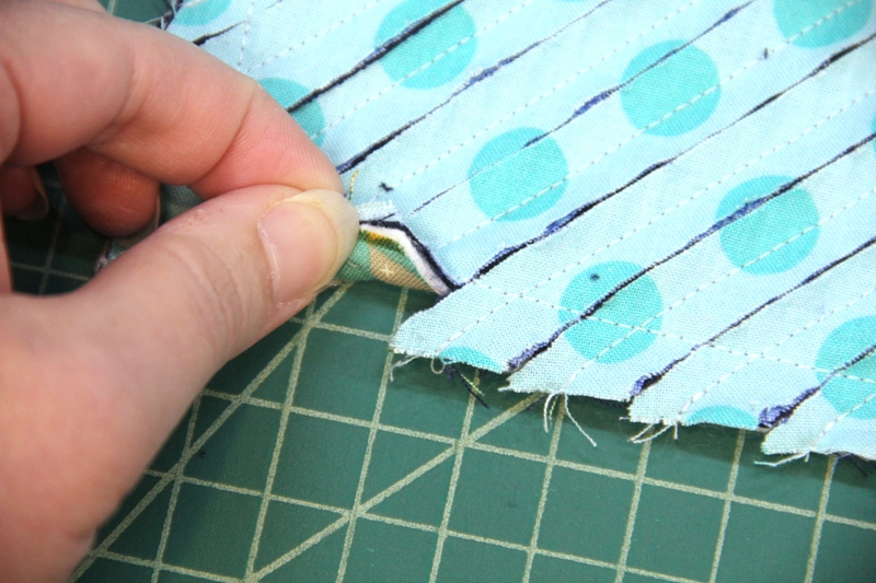 Cut up to stitching line