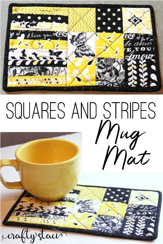 Squares and Stripes Mug Mat from craftystaci.com #mugmat #mugrug #freesewingpattern #sewingforbeginners