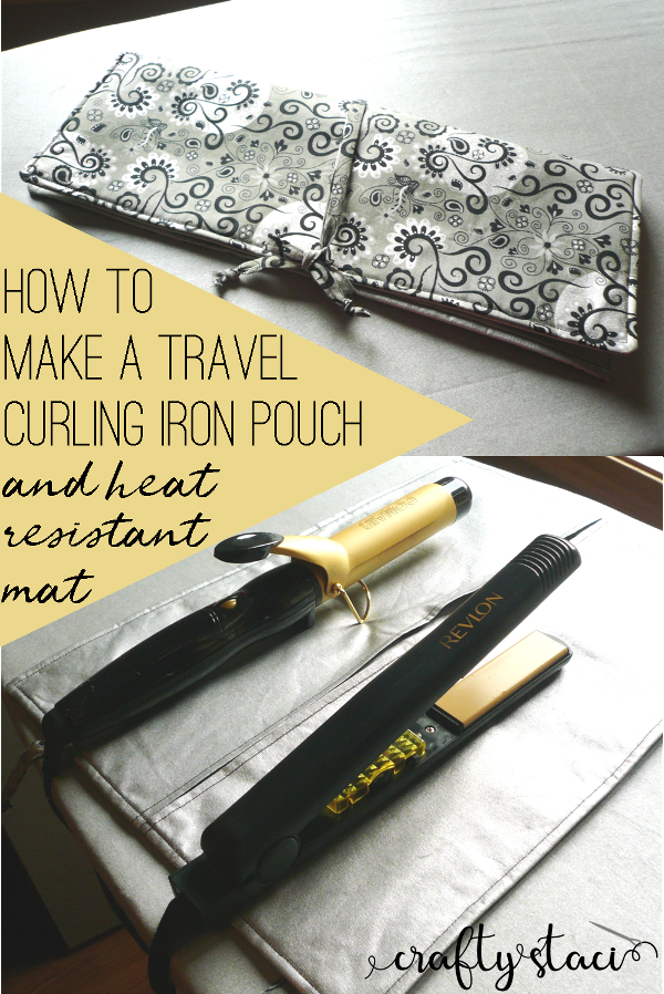 How to make a travel curling iron pouch that doubles as a heat resistant mat from craftystaci.com