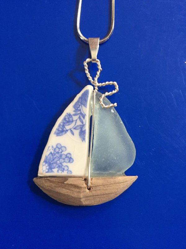 Sea Glass and China Sailboat Necklace from AprilGoodmanStudio