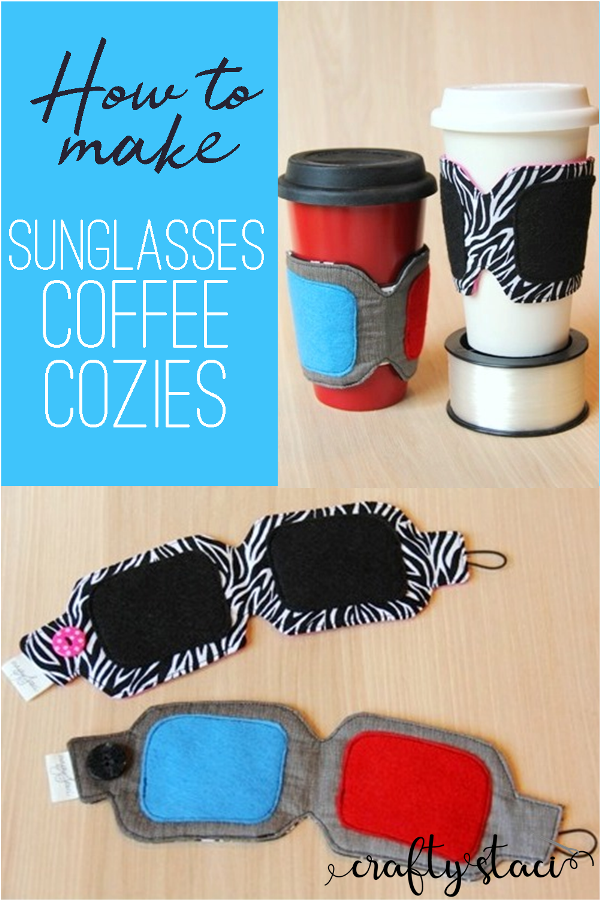 How to Make Sunglasses Coffee Cozies from craftystaci.com #coffeecozy #coffeecupsleeve