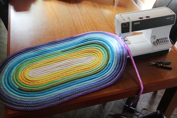 Jelly roll rug on sewing machine