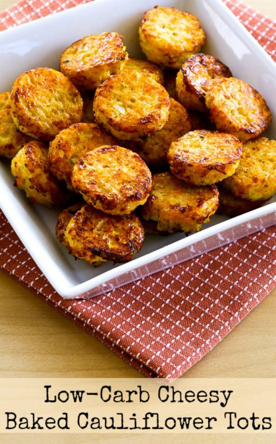 Cheesy Baked Cauliflower Tots from Kalyn's Kitchen