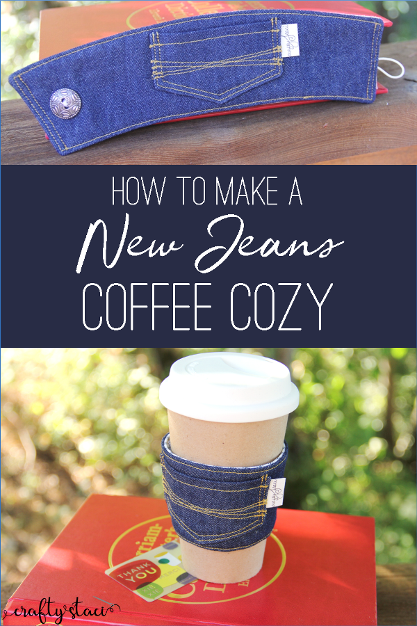 How to Make a New Jeans Coffee Cozy from craftystaci.com #coffeecozy #backtoschoolsewing