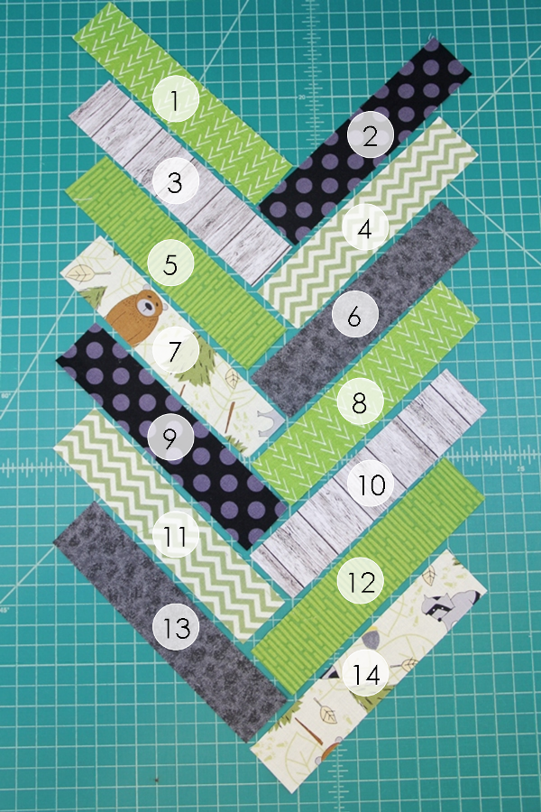 Numbered pieces for french braid mug mat