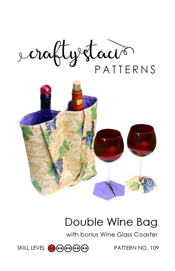 Double Wine Bag Sewing Pattern from craftystaci.com #winebag #winetote #bagsewingpattern