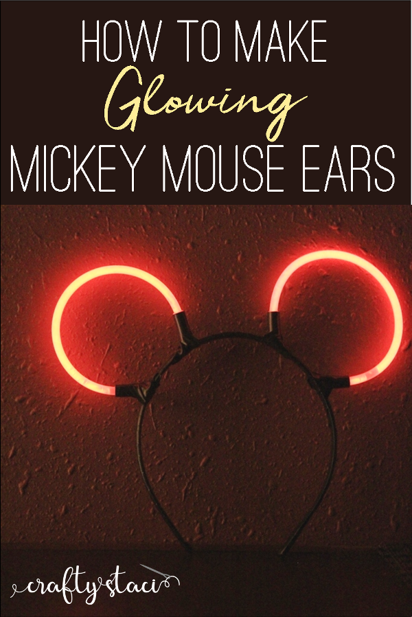 How to make glowing Mickey Mouse Ears from craftystaci.com #disneycrafts #disneyland #mickeymouse #disneyworld