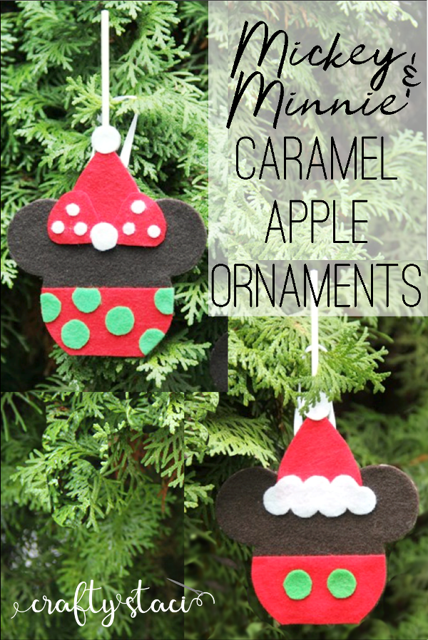 Mickey and Minnie Caramel Apple Ornaments from craftystaci.com #disneycrafts #disneychristmas #mickeyandminnie #disneyland