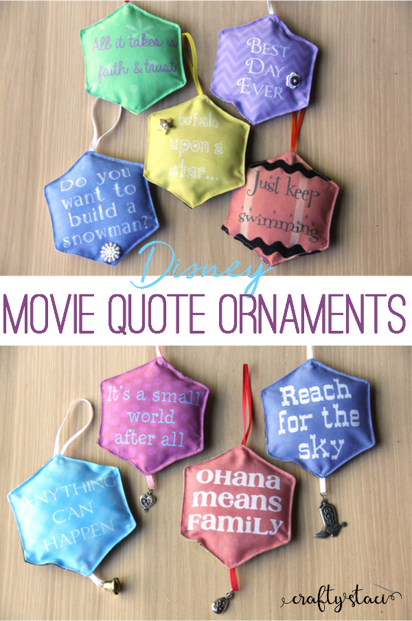 Disney Movie Quote Ornaments from craftystaci.com #disneycrafts #disneymovies #disneychristmas