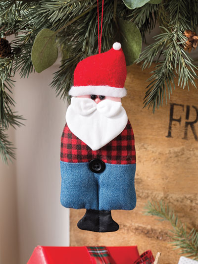 Santa Farmer Ornament