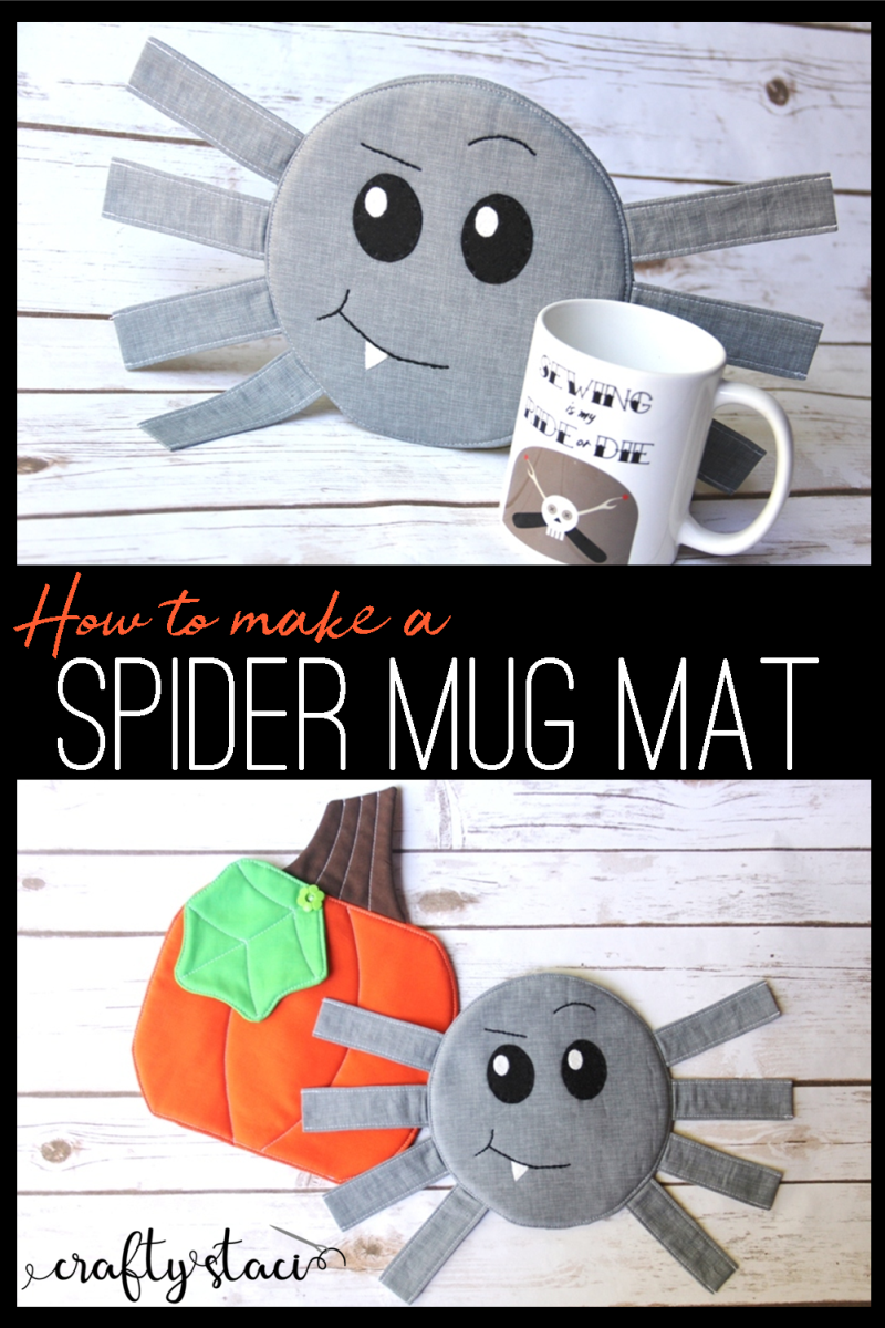Spider Mug Mat from craftystaci.com #halloweencrafts #halloweensewing #spidercrafts #mugmat #mugrug #halloweendecor