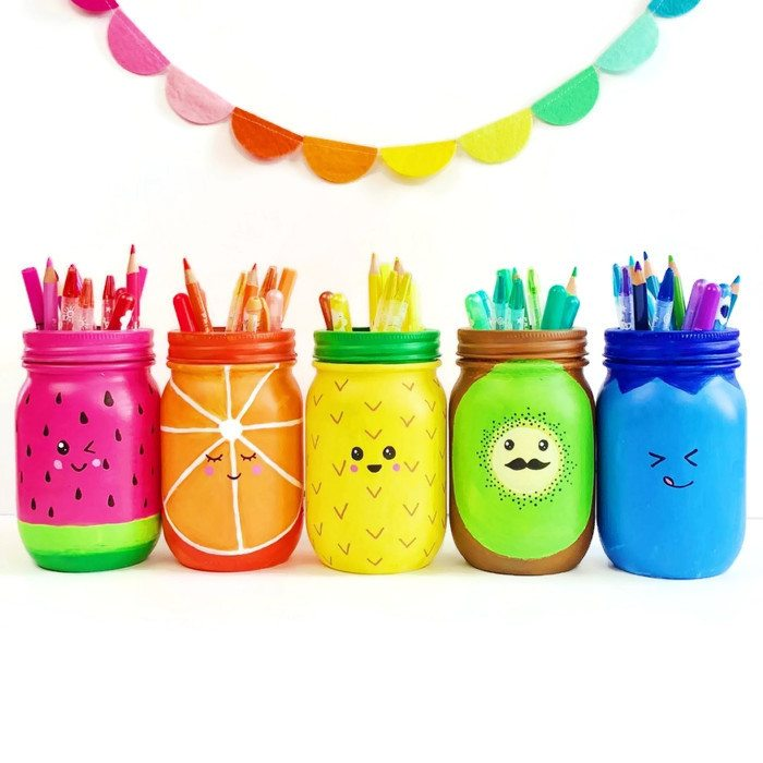 Rainbow Fruit Mason Jars from Color Made Happy