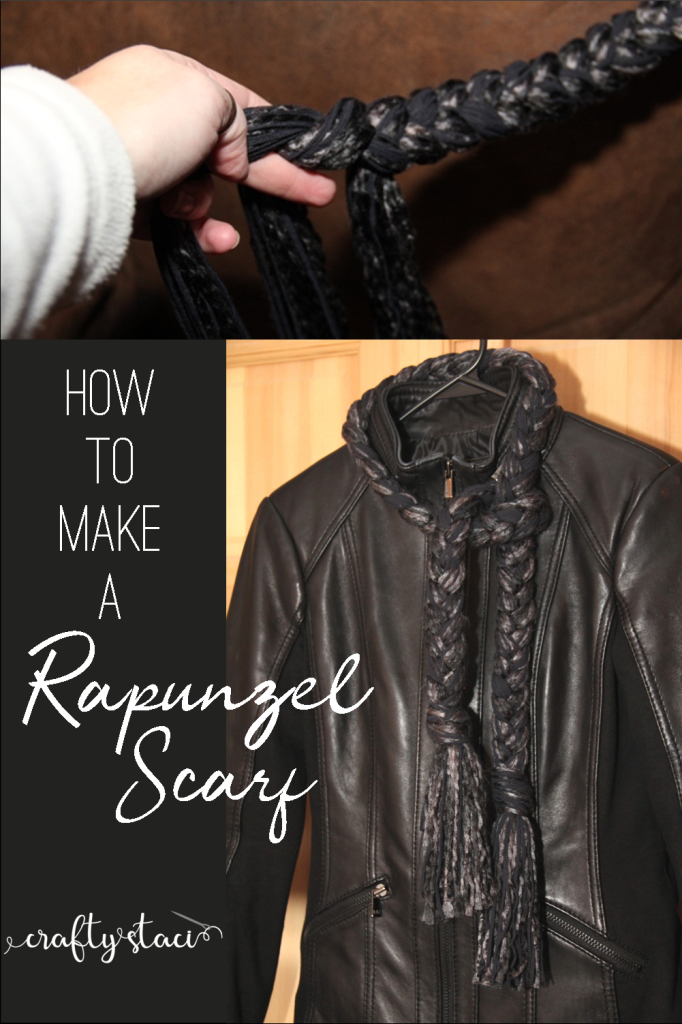 How to Make a Rapunzel Scarf from Crafty Staci #yarncrafts #scarftutorial #noknit #giftstomakeforher