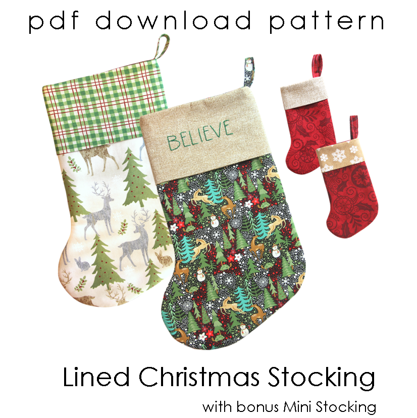 lined christmas stocking sewing pattern with bonus mini stocking pdf download