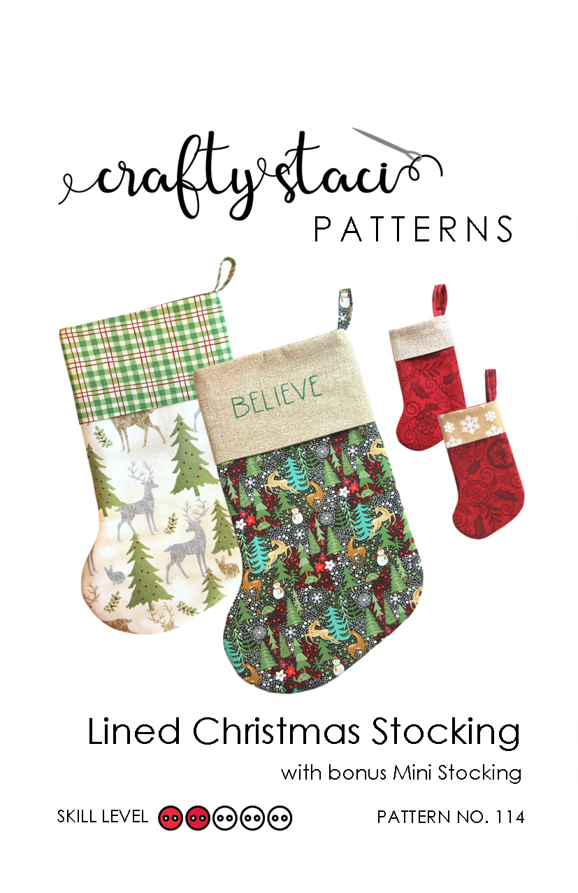 lined christmas stocking sewing pattern with bonus mini stocking pdf download