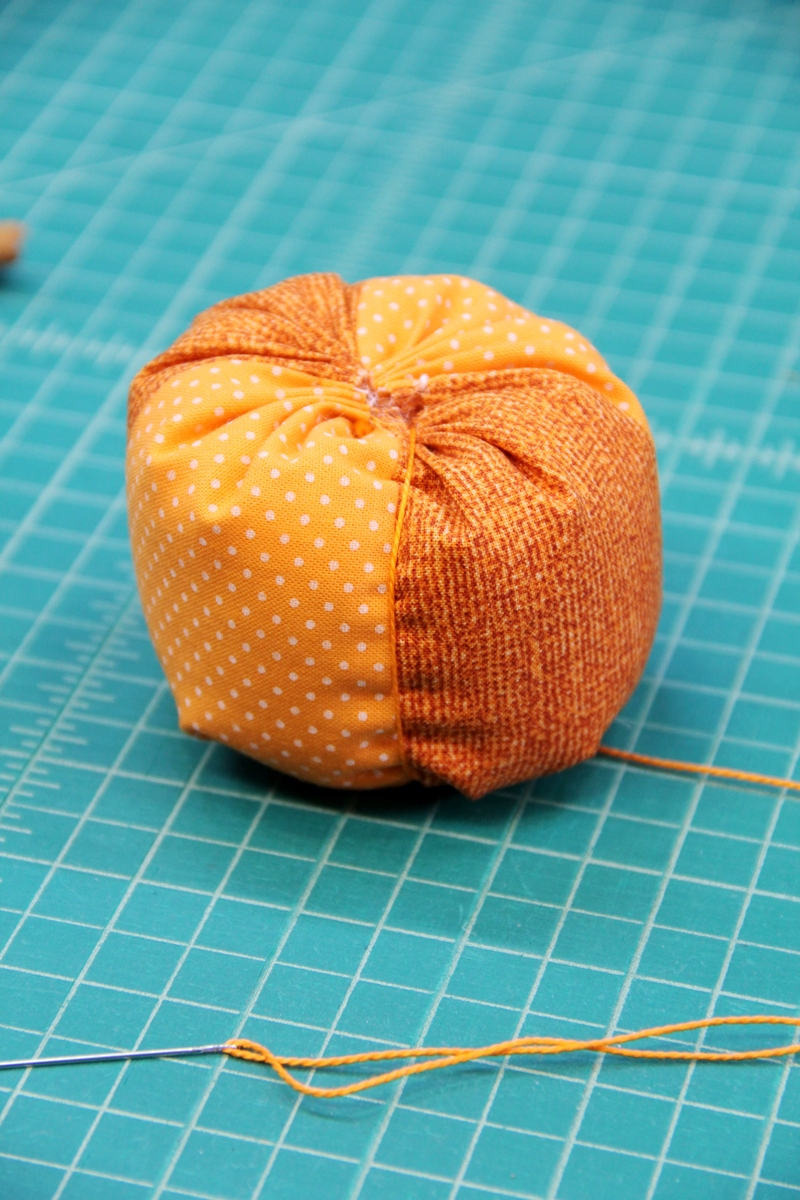 Wrap pumpkin with embroidery thread
