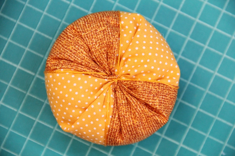Pumpkin wrapped with embroidery thread