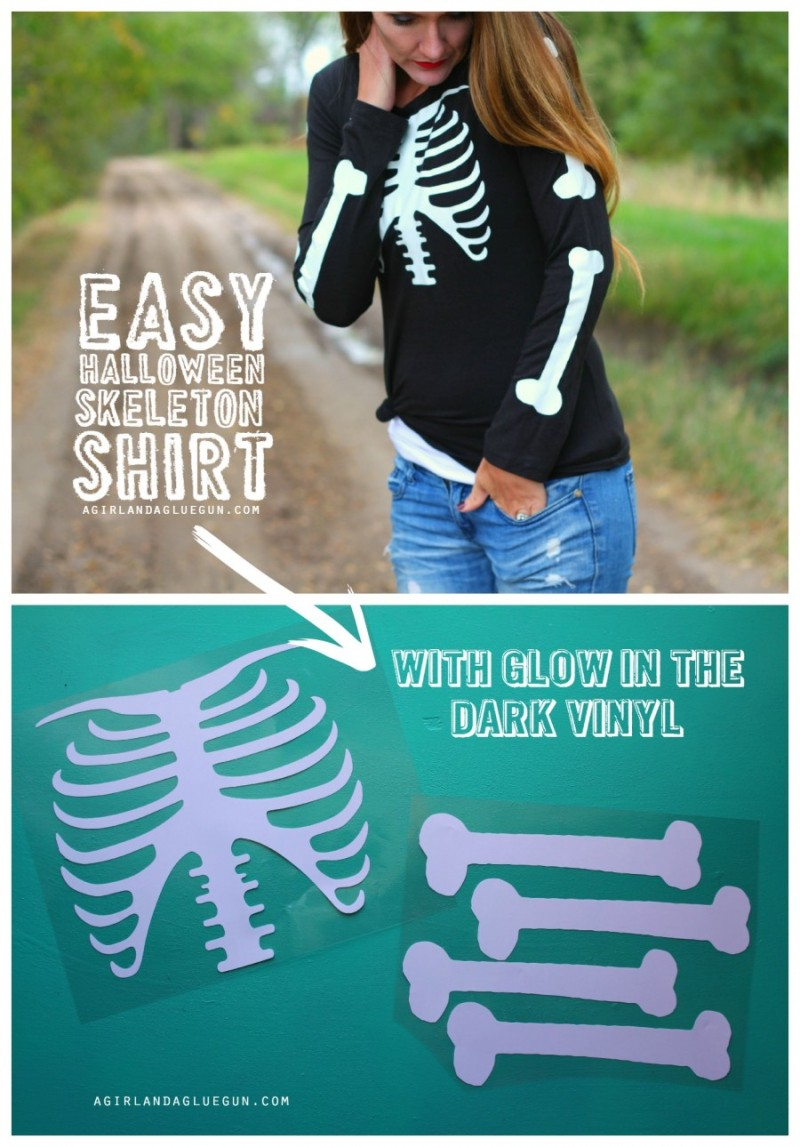Glow in the Dark Skeleton Shirt from A Girl and a Glue Gun