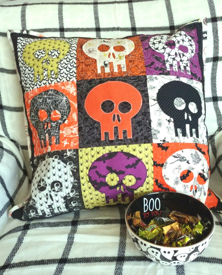 Halloween Skeleton Color Block Applique Pillow from ThermoWeb